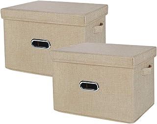 収納ボックス 折りたたみ 収納ケースふた付き 持ち手付 カーラーボックス 小物収納 収納 おもちゃん 書類 ベッド下 事務室 2枚セット (ベージュ, M)
