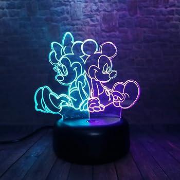 3D Mickey Et Minnie Led Lampe D'Illusion Lumière De Nuit,7