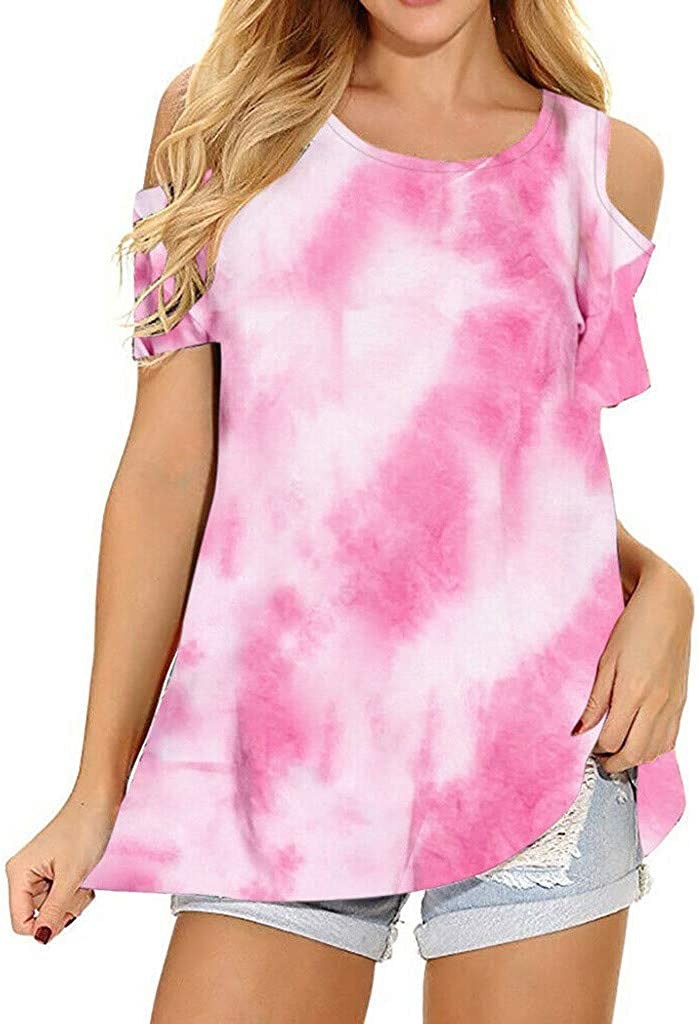 Forwelly Women Off Shoulder Shirt Tie Dye Tee Casual O Neck Color Gradient Print Short Sleeves Summer T-Shirt Tops Blouse