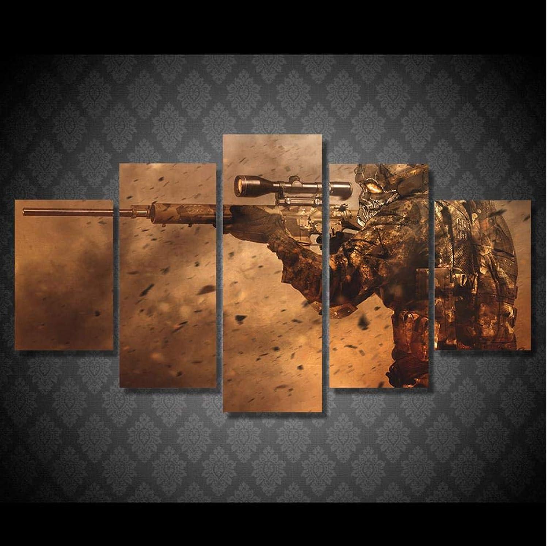 Aisufen Decoración del hogar Impresiones en Lienzo Cartel 5 Panel Soldado con Pistola Pintura Arte Abstracto Parojo Imagen Modular para la Sala de estar-20CMx35 45 55CM