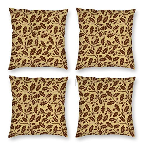 Pillow Covers 18 x 18 Inch Set of 4, And Oak Leaf Acorn Tree Branch Growth Flourishing Nature Buds Mother Earth Print Decorative Throw Pillow Case Cushion Cover for Sofa Couch Sofa Home Decor