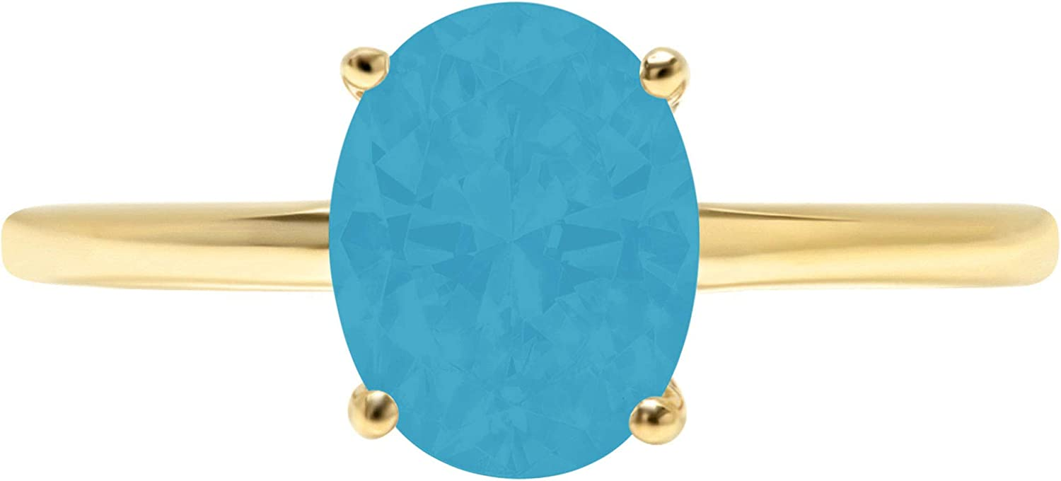 2.4ct Brilliant Oval Cut Solitaire Flawless Simulated Cubic Zirconia Blue Turquoise Ideal 4-Prong Engagement Wedding Bridal Promise Anniversary Designer Ring Solid 14k Yellow Gold for Women