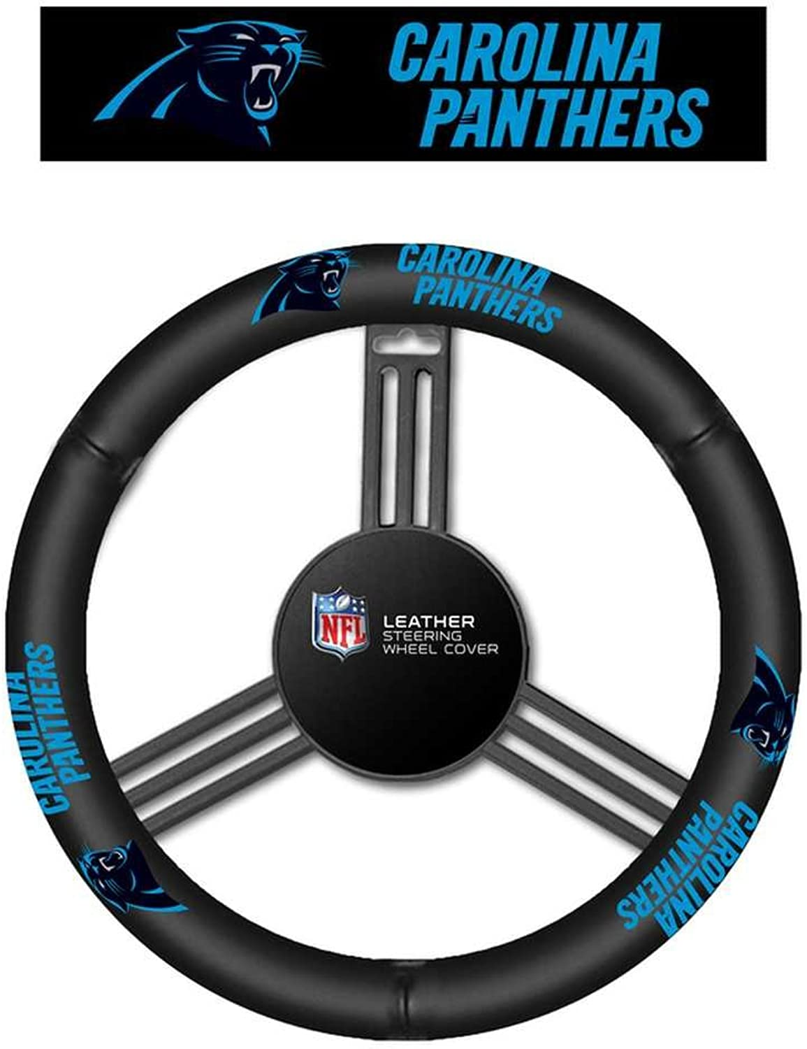 NFL Carolina Panthers No Leather Steering Wheel Coverleather Steering Wheel Cover, Black, One Size