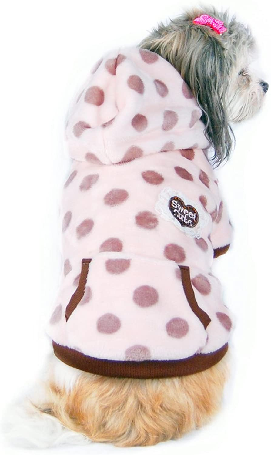 Anima Ultra Soft Polka Dot Fleece Jacket for Small Dogs and Pets, Large, Pink