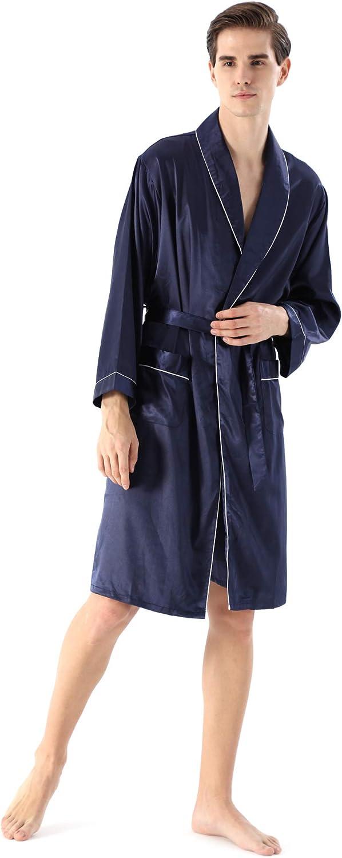 YIMANIE Mens Lightweight Phoenix Mall Satin Robe Kimono Long Sleeve Dedication Bathrobe