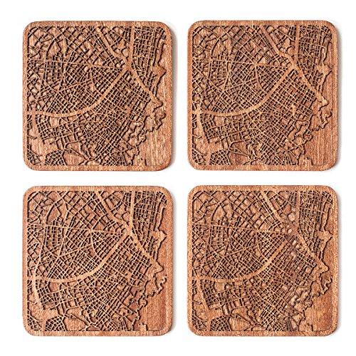 Bogota Posavasos Mapa, Conjunto de 4, montana de madera Sapele con mapa de la ciudad, Hecho a mano