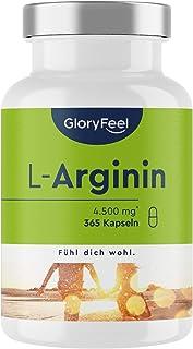 L-Arginin - 365 Högkoncentrerade Kapslar Vegan - 4500 mg L-Arginin HCL (3700 mg Ren α-Aminosyra L-Arginin) per Daglig Dos