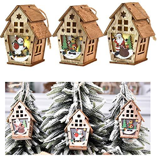 tangger 3PCS Adornos Colgantes de Madera de Navidad,Manualidades de Decoración de árboles de Navidad,Casa de Madera de Bricolaje con Luces,Papá Noel,Muñeco de Nieve,Alce