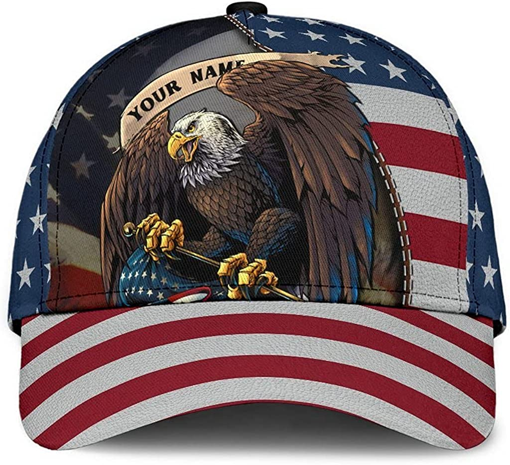 Personalized Name 3D Printed Unisex Cap Hat Custom Proud American Eagle Flag USA Personalized Name Text Name Customized Classic Cap Snapback Cap Baseball Cap for Men Women Sports Outdoor