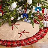 Gonna per albero di Natale, 122 cm, colore: rosso e nero, con motivo scozzese