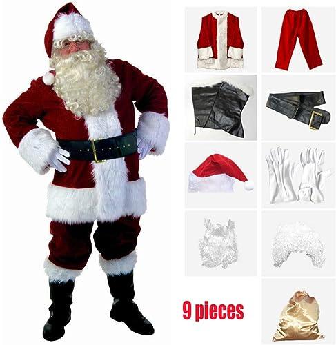FAFY Weißachten Santa Claus Kostüm,Herren Weißachtsmann, Hochwertige Verdickung Vollen Satz Von Weißachtsmann Kostüme, 9 Stück, Größe S-L, H  150-190cm,M-165-175cm