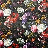 Fabulous Fabrics Samt schwarz, Blume, 140cm breit –