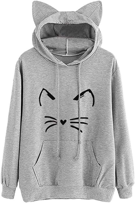 Teresamoon Womens Cat Long Sleeve Hoodie Sweatshirt Hooded Pullover Tops Blouse Grey 01 M