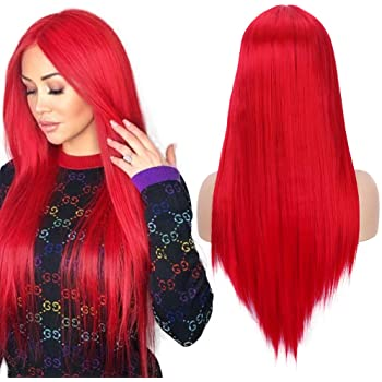 """Fani 22"""" Long Straight Red Wigs for Women Natural Hairline Middle Part Synthetic Wigs for Women Halloween Cosplay Party Costume (113#)"""