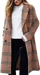 Women's Winter Turn Down Shawl Collar Overcoat Double Breasted Wool Coat