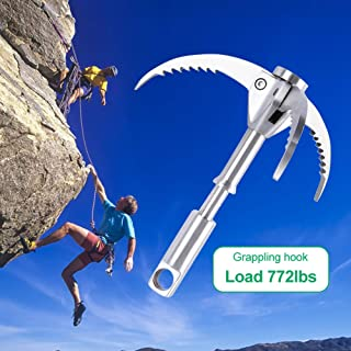PFCKE Grappling Hook, Outdoor Survival Gravity Carabiner with Folding Sawtooth Claws Multi-Function Collapsible Stainless Steel Anchor for Climbing, Hiking, or Tree Limb Removal