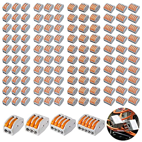 120 Pack Compact Wire Connectors, Compact Splicing Connectors, Lever Nut Assortment Conductor, Wire Terminal connectors, 2-Port (30pcs) 3-Port (30pcs) 4-Port (30pcs) 5-Port(30pcs)