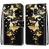 i-Case Carcasa Samsung Galaxy J6 2018 Flip Cover, Patrón PU Piel Funda,Cubierta de Ranuras para Tarjetas,Caja de Soporte con Cierre Magnético Caso Skin teléfono para Galaxy J6 2018,Mariposa de Oro