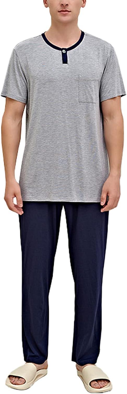 LZJDS Mens Pajamas Set Two-Piece Crewneck Short Sleeve Sleepwear Long Pants PJ Suit,Royal Blue,XL