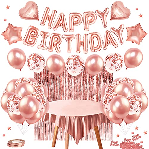 Hanmulee Rosegold Deko, Geburtstagsdeko, Happy Birthday Ballon Banner, Folie Fransen Vorhang, Folie Tischdecke, Latex Konfetti Ballon, Ballon für Mädchen Geburtstag Party Dekorationen