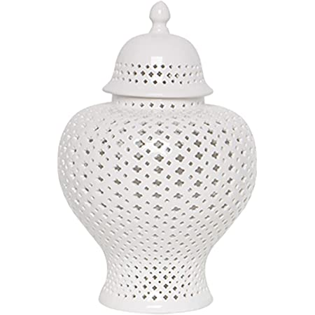 Amazon Com Traditional Chinese White Lattice Ginger Jar With Lid Carved Lattice Decorative Temple Jar Carthage Pierced Covered Lantern Porcelain White S Home Improvement