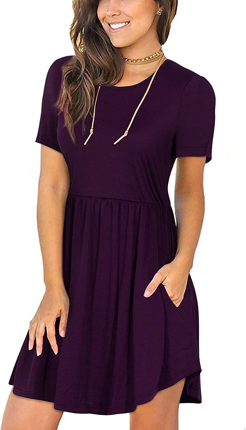 Manydress Women's Short Sleeve Loose Summer Dresses Casual Vacation Short Dress with Pockets MY031