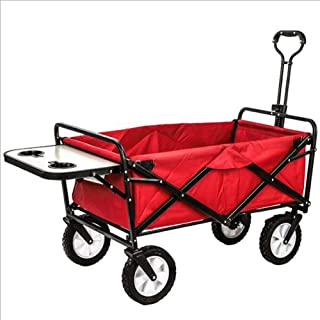 Collapsible Outdoor Utility Wagon with Folding Table and Drink Holders Red Heavy Duty Garden Cart for Shopping Beach Outdoors DIY Gardening