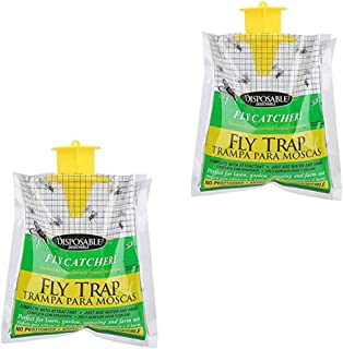 2 Pieces Disposable Fly Trap, Fly Catcher Insect Trap Fly Trap Bags for Garden Outdoor Disposable Hanging Fly Trap, Non-To...