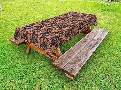 LIS HOME Jacobean Tischdecke im Freien, persisches Paisley-Muster mit Schnörkeln wirbelt Kurven-Blätter iranische nahöstliche, dekorative waschbare Picknicktischdecke, Mehrfarbig