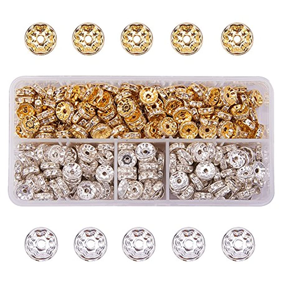PH PandaHall 400pcs Brass Rondelle Spacer Beads Round Rondelle Crystal Rhinestone Charms Beads Jewelry Making (10×4mm, Gold & Silver)