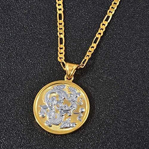 NC110 Necklace Auspicious Dragon Pendant Chain Necklaces Wen Men Mix Gold Color Jewelry Mascot Ornaments Lucky Gifts