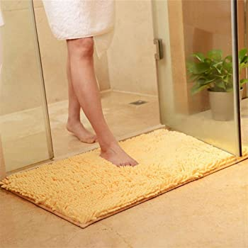 RAVCON Bathroom Rugs,Chenille Bath Rug,Machine-Washable Bath Mats,Water Absorbent Dry Fast Rugs,Shaggy Bathroom Mat,Non-Slip Soft Microfibers Carpet- 20 x 32 Inch Yellow