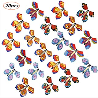 Goging 20 Pieces Magic Fairy Flying Butterfly Rubber Band Powered Butterfly Wind up Fairy Butterfly Toy for Kids Girls Sur...