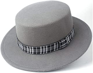 Pork Pie Hat Fedora Trilby Flat Top Hat Fedora Hat Men Women Trilby Church Hat Wide Brim Fascinator Hat Size 56-58CM (Color : Gray, Size : 56-58)