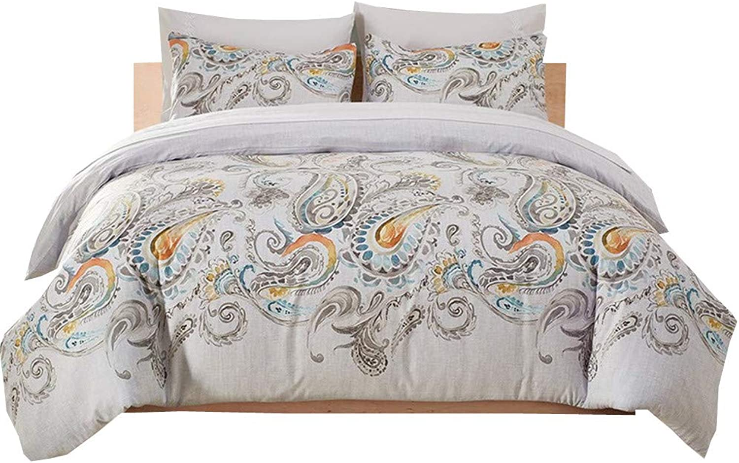 YIH Paisley Duvet Cover Twin White, Ultra Silky Soft Premium Bedding Collection