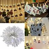 LEDMOMO 40 LED Clip Guirlande Lumière de NoëlAffichage Photo,Alimenté Par USB,Blanc Chaud