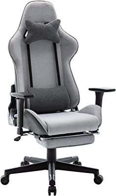 Wahson ゲーミングチェア ゲームチェア デスクチェア パソコンチェア リクライニング アームレスト付き 高さ調整機能 腰痛対策 布地素材 通気性 グレー (G2650-GREY)