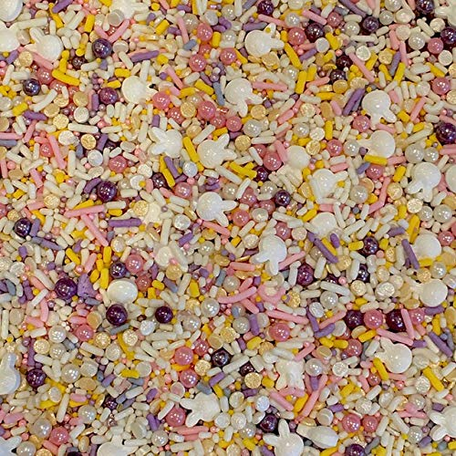Easter Sprinkles with Bunnies for Baking and Decorating Cupcakes, Cakes, Cookies, and Ice Cream! Bulk Medley Mix for Easter Party I Edible Decorations I 8 oz I White I Green I Cool Mom Sprinkles
