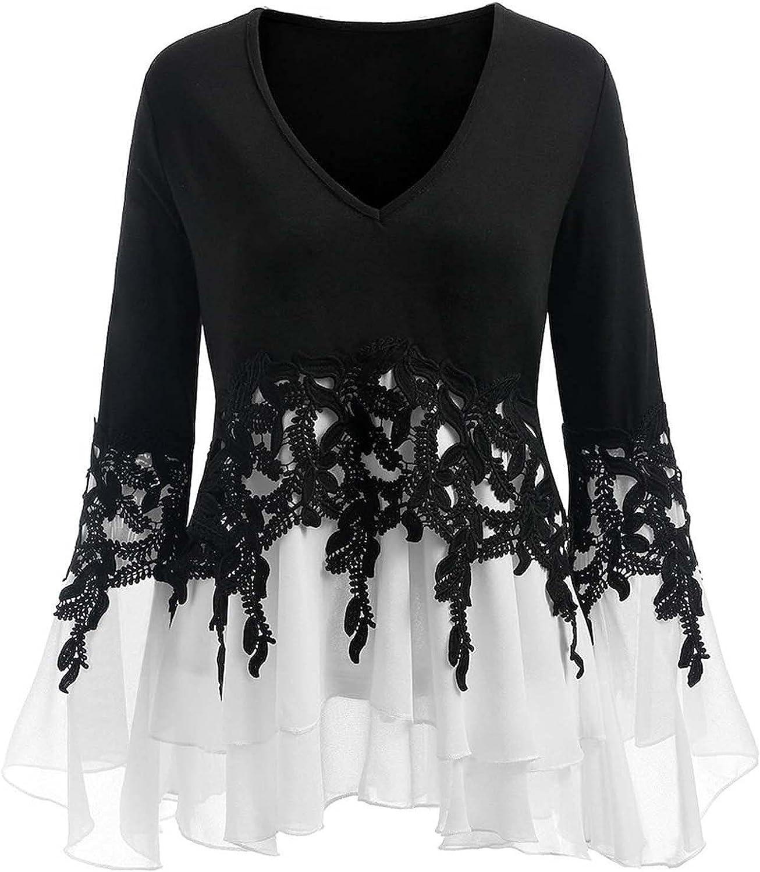N / B Autumn Blouse for Women Flowy Chiffon V-Neck Patchwork Long Sleeve Tee Shirts Plus Size 3XL Black