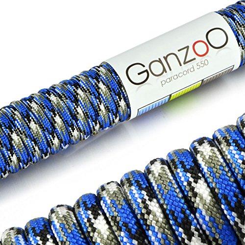 Ganzoo Paracord 550 Corde pour Bracelet Laisse Collier Nylon Corde 30 Mètres Bleu Blanc