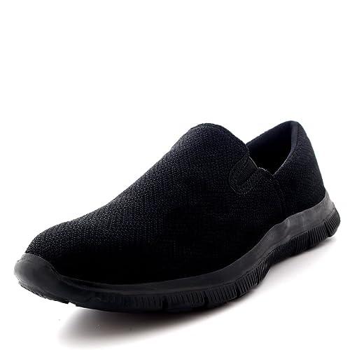 ca78be13d5475 Black Slip On Trainers: Amazon.co.uk