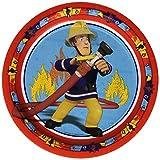 Amscan 998149  Fireman Sam  für den Kindergeburtstag party 8er Set Teller , Blau, 33 x 33 x 2,5 cm