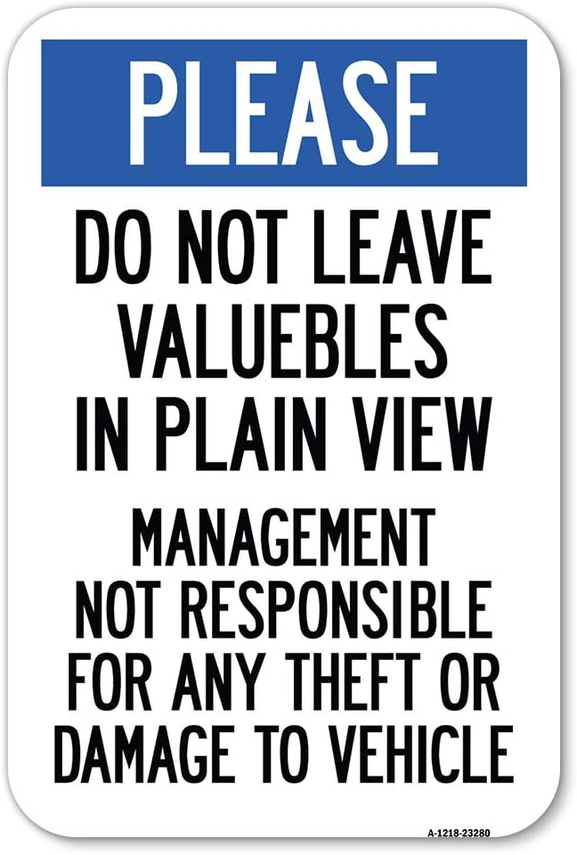 Please Do Not Leave Valuables Management View 2021new shipping 67% OFF of fixed price free Res Plain in
