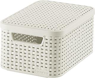 CURVER 205840 - Cesta con Tapa con Efecto Mimbre (tamaño pequeño, Polipropileno), Color Blanco