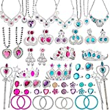 BeYumi 66 Pcs Princess Pretend Jewelry Toy, Girl's Jewelry Dress Up Play Set with Crowns, Necklaces, Earrings, Rings, Wands, Bracelets, Pretend Play Jewelry Gift Set for Girls Birthday Party