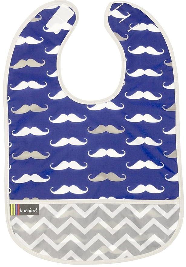 Kushies Cleanbib Waterproof Bib 6-12M 3-Pack Blue Crazy Circles 2 Blue Whales//Navy Mustache