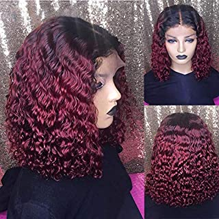 Lace Front Wigs Human Hair Wigs Short Bob Wig Pre Plucked Remy Brazilian Curly Transparent Lace Wigs for Black Women Burgundy #1B/99J 10inch