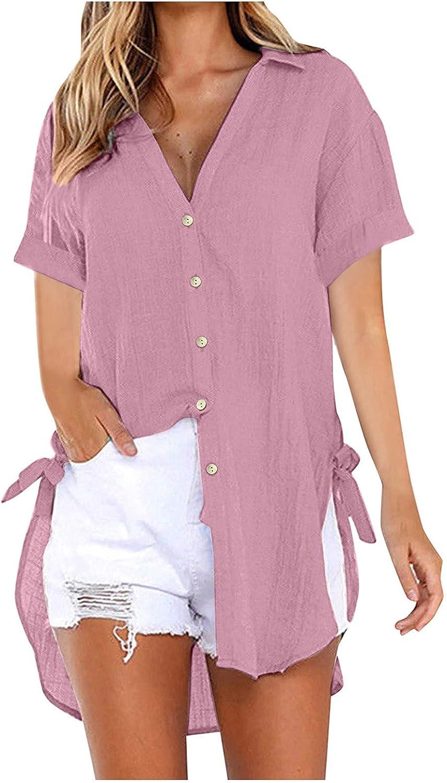 POTO Women's Short Sleeve Cotton Linen Shirts Button Down Casual Summer V-Neck Tees Shirt Comfy Plus Size Blouse Tops