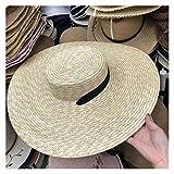 ZAJ Mujeres Natural Trigo Sombrero de Paja Lazo de la Cinta Botero Derby Beach Sun del Casquillo del Sombrero de señora Summer Sombreros de ala Ancha UV Protect (Color : Natural with Black)