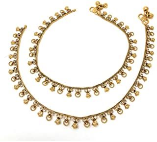 Duel On Jewel Pakistani Indian Gold Plated Bridal Ethnic Payal Anklet Pair in Cubic Zircon Gift for Her